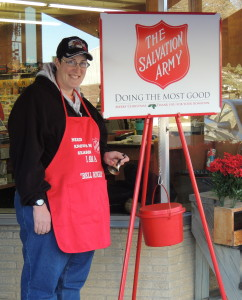 Aktion Club member Brenda Batschelet is among dozens of volunteer bell ringers in the Christmas kettle campaign.