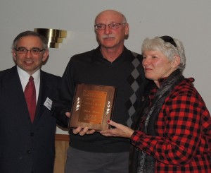 Don Orris (center) was honored with the ABC Award. Presenters were Chris Henning (right) and Ben Yoder.
