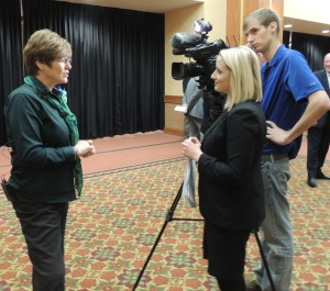 Peg Raney of Grow Greene County being interviewed for television