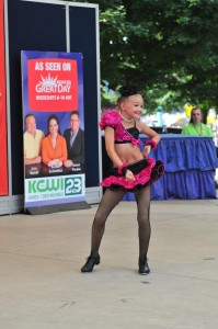 Gretah Kay Johnson, 10, of Jefferson, performs a tap dance in the Bill Riley Talent Search at the Iowa State Fair on Aug. 15. (Iowa State Fair/ Steve Pope Photography)