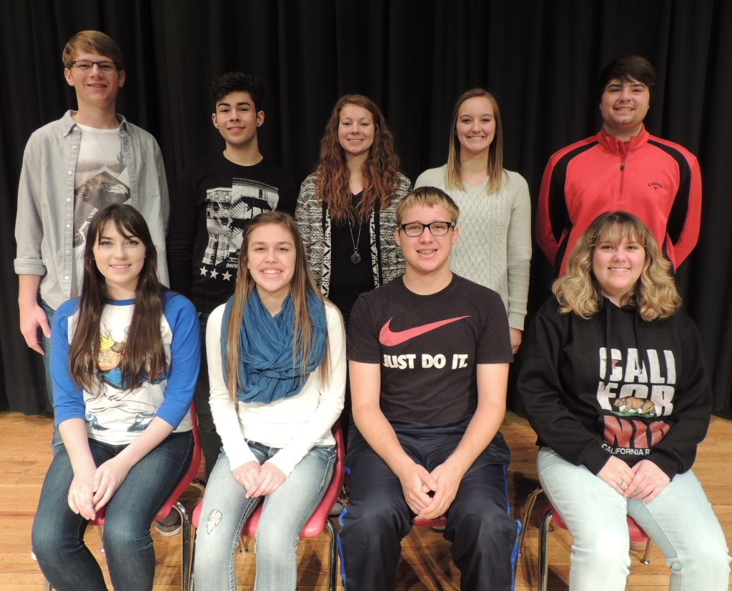 (Front, from left) Rielly Harrington, Emily Heupel, Noah Von Stein and Brittany Richardson; and (back, from left) Michael Kennedy, David Petersen, Hannah Promes, Maddie Schroeder and Wyatt Funcke