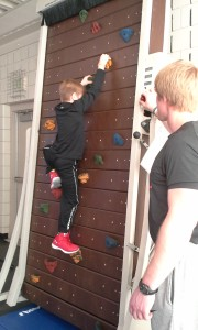 Tanner Price on the tread wall, supervised by Simeon Lang