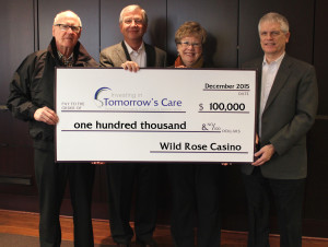 """Wild Rose Casino donated $1,000 to the """"Investing in Tomorrow's Care"""" capital fund drive. Pictured are (from left) Wild Rose Casino chairman Gary Kirke, Wild Rose vice chairman Michael Richards, medical center foundation director Hollie Roberts, and Wild Rose president Tom Timmons."""
