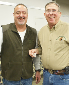 The National Wild Turkey Federation honors the veterans at their annual banquets, presenting them with a special pin to commemorate their service. Dennis Conger, NWTF Regional Director, left, gave Greene County Gobblers chapter president Fred Long his gift.