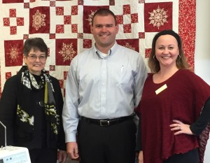 Quilt show organizers (from left) Suzanne Sievers of the Stitch, Bob Allen of the Greene County Fair Association, and Angie Pedersen of the Greene County Chamber