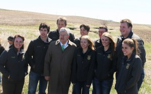 Greene County FFA members and advisor Katie Akers with Gov Branstad