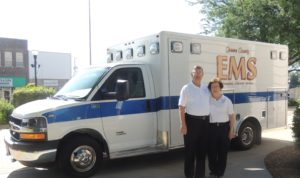 Dennis and Marcia Morlan with the new ambulance