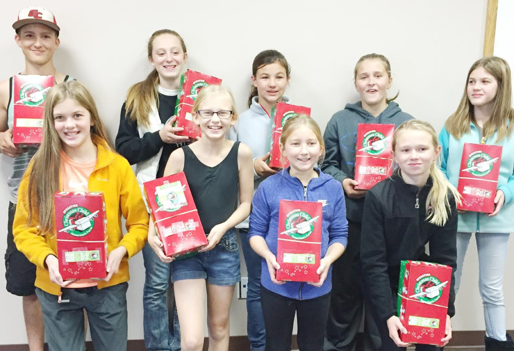 Among Greenbrier 4-H club members who worked on the project are (front, from left) Natalie Heupel, Grace Hardaway, Elise Badger and Emma Halterman; and (back, from left) Brian Hardaway, Samantha Hardaway, Olivia Shannon, Paige Teeples and Katrina Heupel. Many other club members are not pictured.