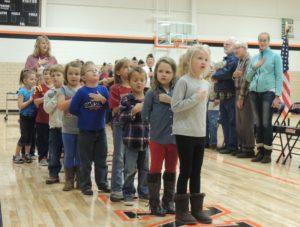 Kindergartners led the Pledge of Allegiance