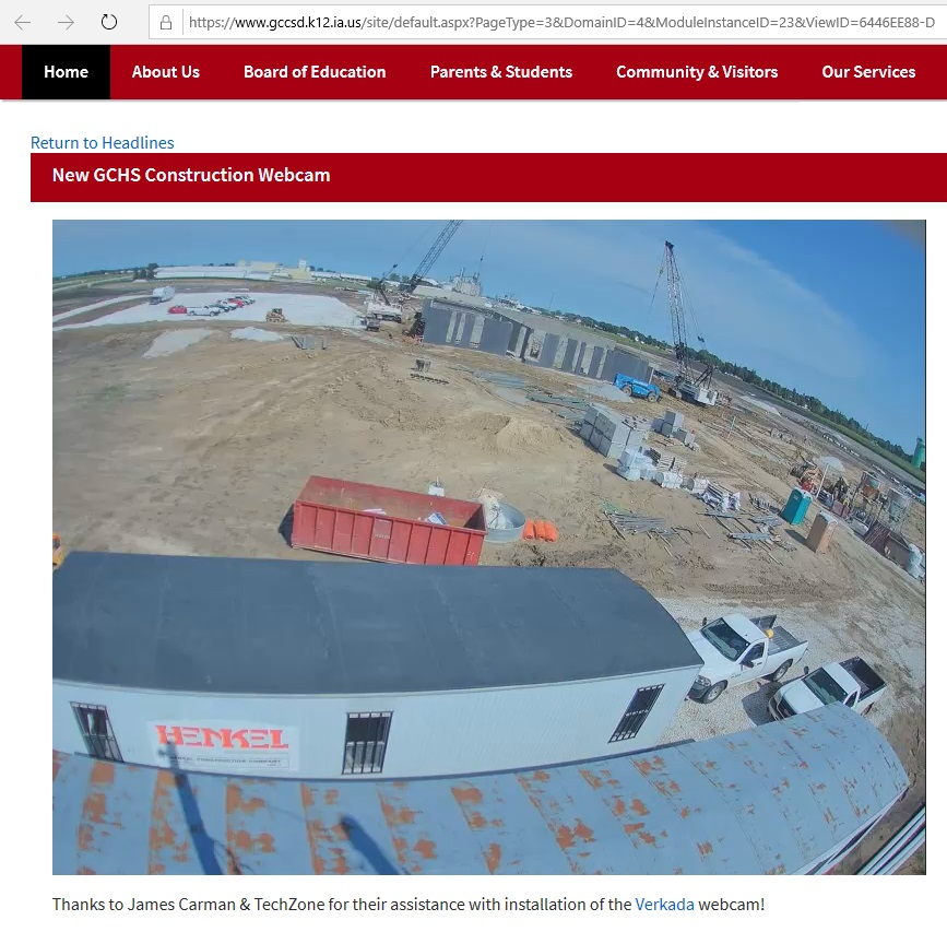 Webcam installed at school construction projectGreene County News